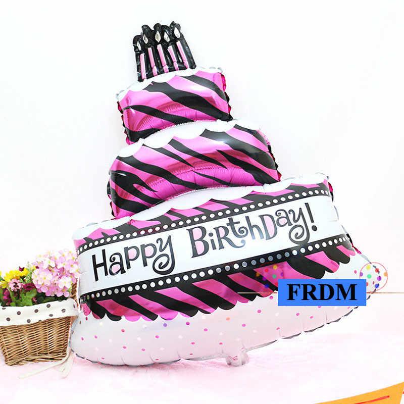Большой Гелиевый шар игрушки для девочек мальчиков детские вечерние украшения поставки большая фольга Счастливые воздушные шары в виде торта ко дню рождения
