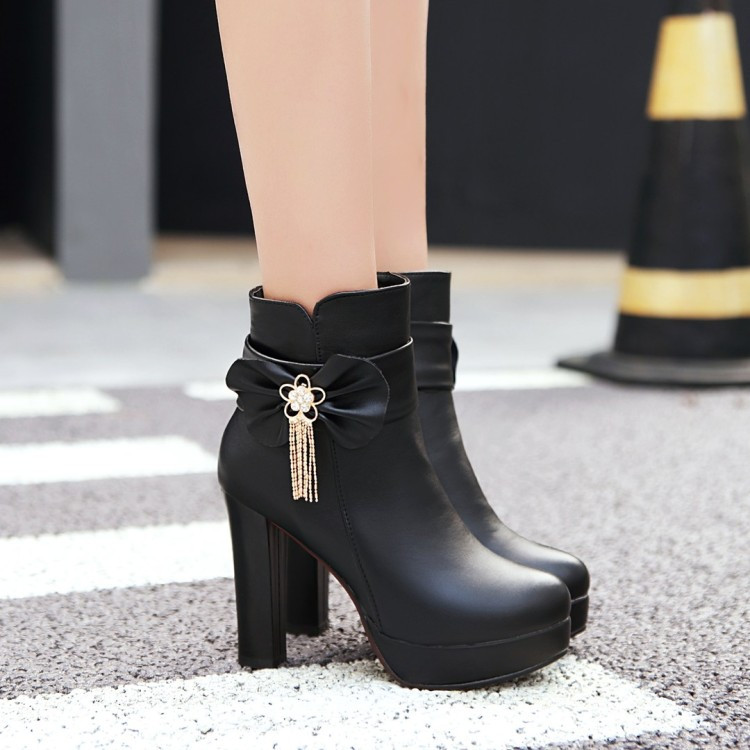 21_2016 Autumn Korean Womens Pink Dress Booties Shoes Princess Bow High Heels Black And White Platform Ankle Boots For Winter