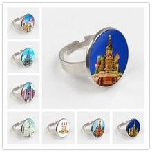 лучшая цена GDRGYB 2019 EJ Glaze Fairy Tale Building Fashion Novelty Glass ring Maxi Angel Wings ring For Girls Statement Maxi