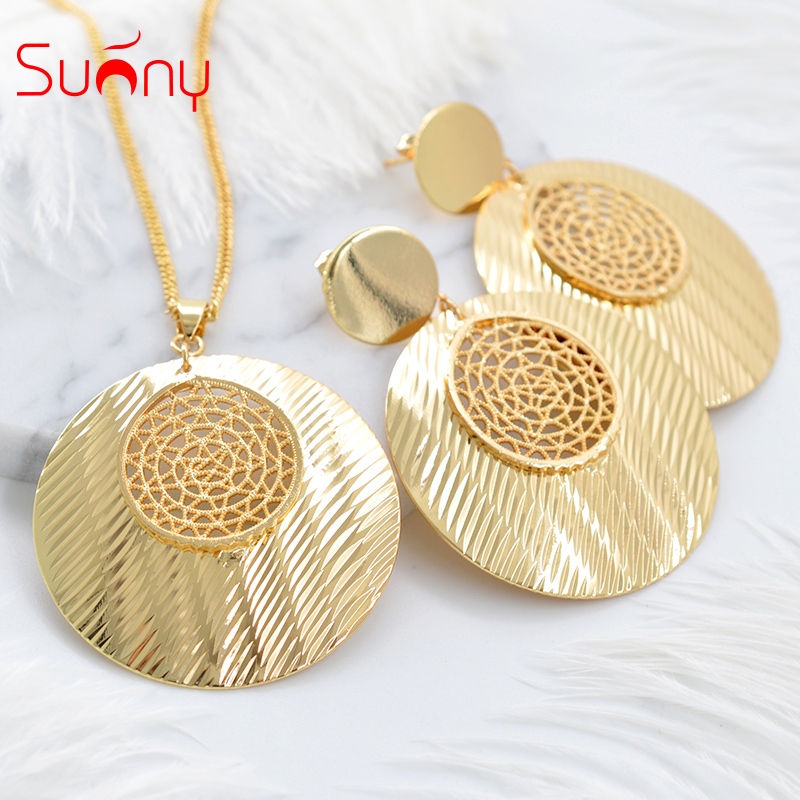 Sunny Jewelry Fashion Jewelry 2018 Big Earrings Pendant Necklace Jewelry Sets For Women Metal Round Hollow Out For Party Daily цены онлайн