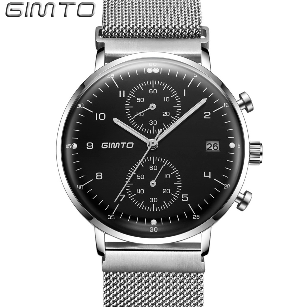 GIMTO Brand Men Sport Watch Steel Luxury Clock Waterproof Male Military Quartz Watches Shock Creative Wristwatch montre relogio top brand sport men wristwatch male geneva watch luxury silicone watchband military watches mens quartz watch hours clock montre