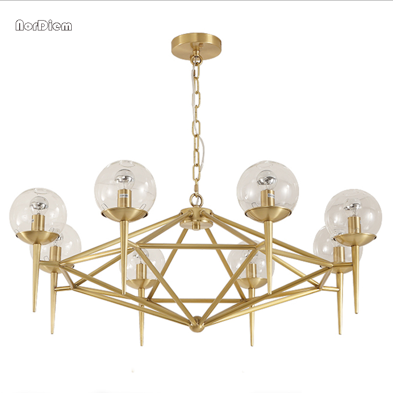 American gold Pendant lights lamp Simple dining-room bedroom study droplight creative personality Glass lampshade hanging lamps hand knitting cany art chimney droplight contracted and contemporary dining room creative personality study cafe droplight