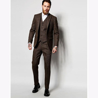 2017 Latest Coat Pant Designs Dark Brown Winter Tweed Men Suit Slim Fit 3 Pieces Tuxedo Custom mens Suits Groom Blazer Masculino