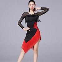Latin Dance Dress Women Professional Samba/Rumba/Tango Dance Clothes Female Fringe Long Sleeve Latin Performance Wear DQL608
