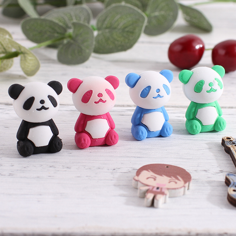 1 Pcs Cute Animal Panda Eraser Cartoon Rubber Kawaii Stationery Escolar Students Office Drawing Design Correction Supplies