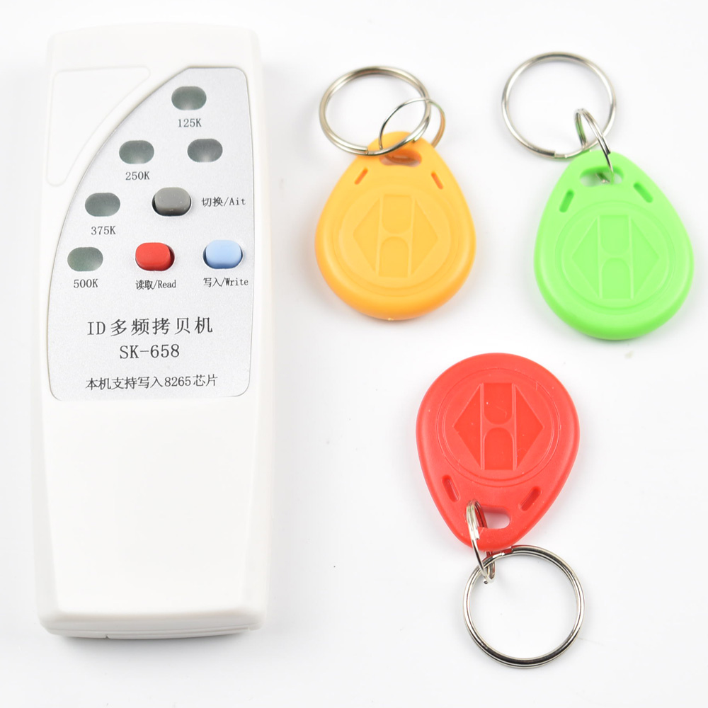 Free shipping 2016 ver 4 frequency RFID Copier/ Duplicator/ Cloner ID EM reader & writer+ 3pcs EM4305 writable keyfob 4 frequency rfid copier duplicator cloner id em reader