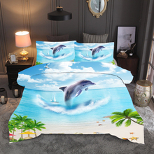 3D Dolphin beach Bedding Set Forest dreamland Print Duvet cover set bedclothes with pillowcase bed home Animal