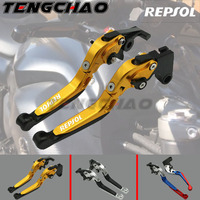 For HONDA CBR 600RR CBR600RR 2007 2016 Motorcycle Adjustable Folding Extendable Brake Clutch Levers logo REPSOL