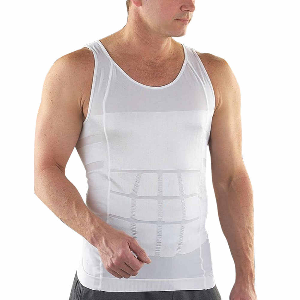 Undershirt Men Slimming Underwear Body Shaper Waist Corset Vest Shirt Compression Singlet Bodybuidling Fitness Bodysuit White