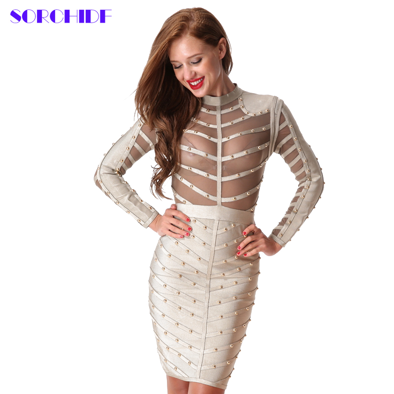 Buy Cheap SORCHIDF Bandage Dress Celebrity 2017 Women Bodycon Beads Cloth Female Spring Celebrity Sexy Bandage Black Dresses For Party