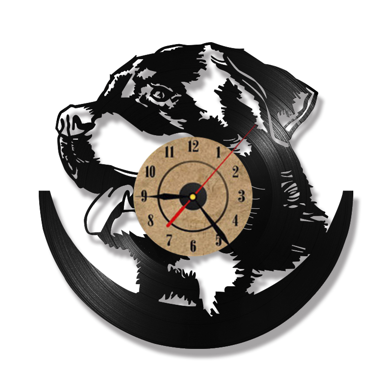 Hollow rottweiler dog 3d led lighting wall clock modern design vinyl hollow rottweiler dog 3d led lighting wall clock modern design vinyl record clock amimal silhouette room decor hanging clock in wall clocks from home mozeypictures Gallery