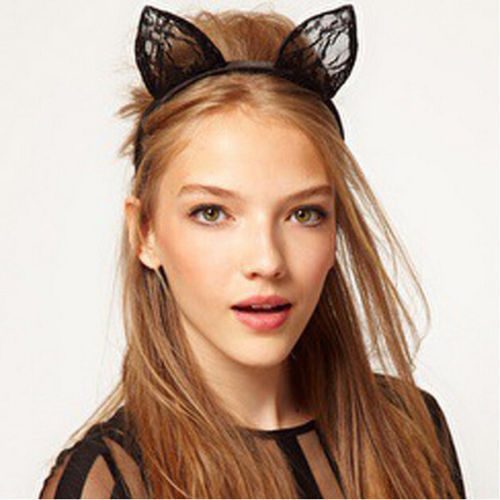 89e1a691eb0b7 US $0.93 48% OFF Hirigin Sexy Girls Fancy Costume Lace Black Wired Lace Cat  Ears One Size Headband Festival Hen Night-in Women's Hair Accessories from  ...