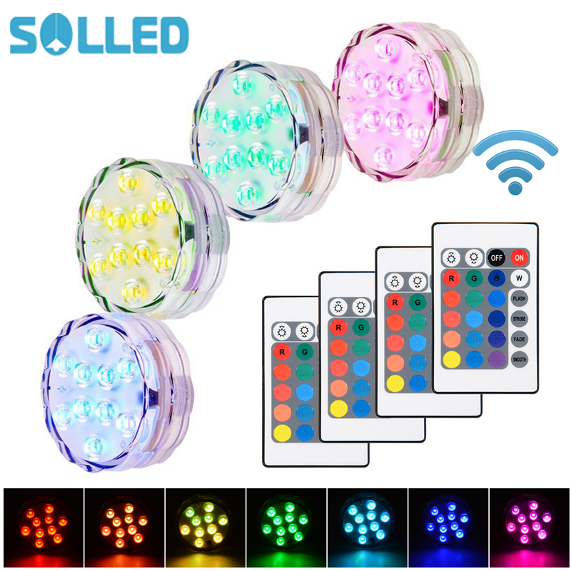 SOLLED 4 PCS Submersible LED Underwater Lights Waterproof RGB Colors Remote Control Wireless Vase Light Party Wedding Pool Light