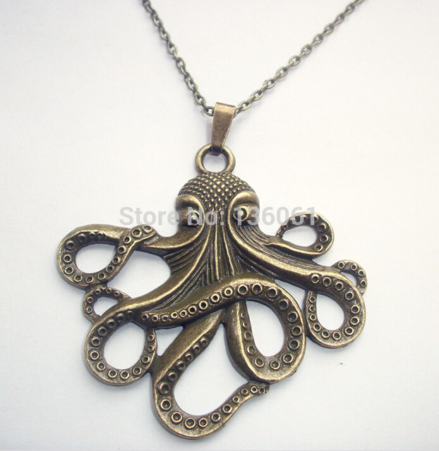 Vintage bronze large octopus cthulhu necklace pendants charms choker vintage bronze large octopus cthulhu necklace pendants charms choker sweater chain statement necklace women jewelry 10pcs mozeypictures Image collections