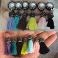 bohemian multi colors handmade string pink blue fabric tassel rhinestone bead freshwater pearl Charms dangle earrings for women