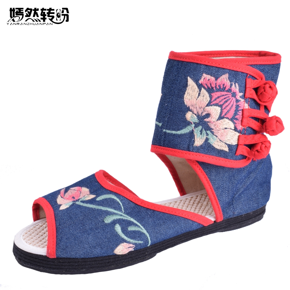 Women Shoes Vintage National Embroidery Sandals Cloth Canvas Peep Toe Old Beijing Ethnic Wrap  Embroidered Sandals  Size 34-40 vintage women shoes 2017 spring new canvas embroidered women s canvas cloth shoes tendon bottom size 34 41