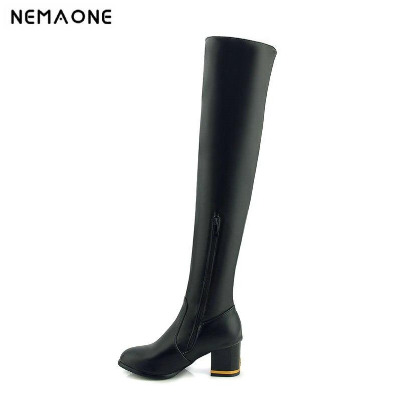 2019 femmes mode la jambe mince femmes bottes 6 cm talon haut sur le genou haute femmes chaussures automne hiver décontracté chaussures de fête