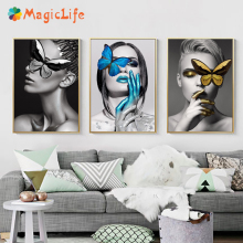 Abstract Wall Art Fashion Woman Canvas Painting butterfly Lips Gold And White Black Modern Home Poster Pictures Unframed