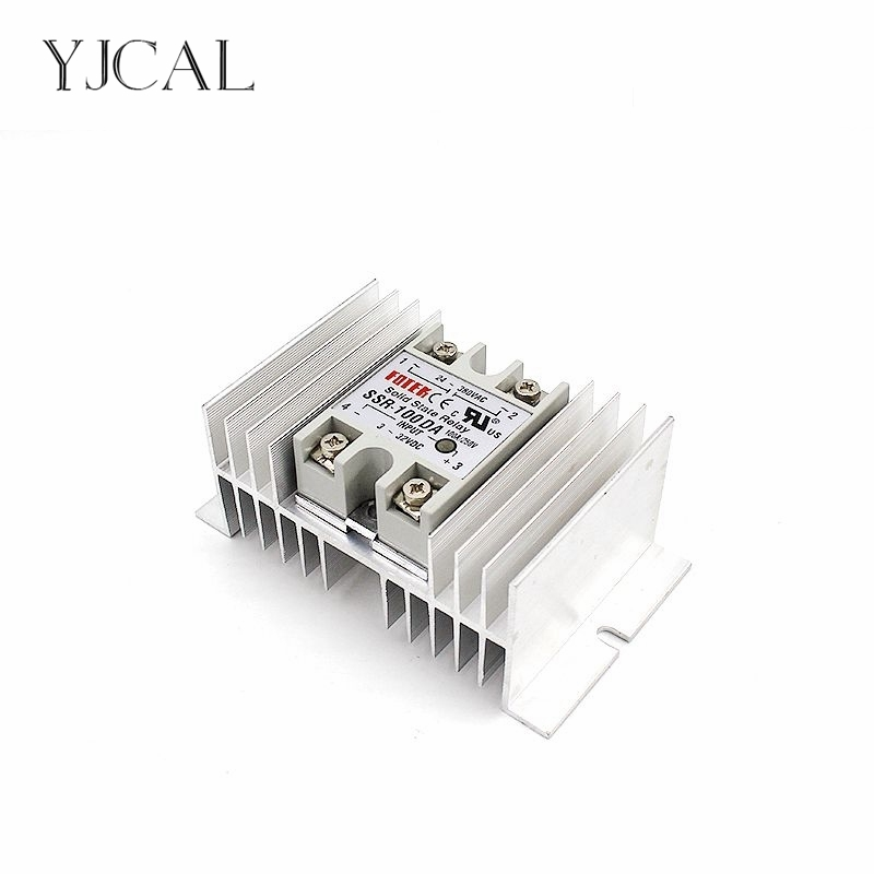 Single Phase Solid State Relay SSR Regulator Base Plate Aluminum M-type Heat Sink Dissipation Radiator Rail Mount For 40A-100A