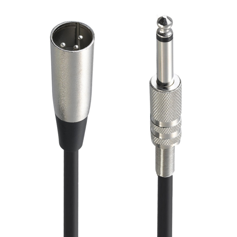 """6ft XLR 3-Pin Male to 1//4/"""" Mono Plug Shielded Microphone Mic Audio Cable Cord"""