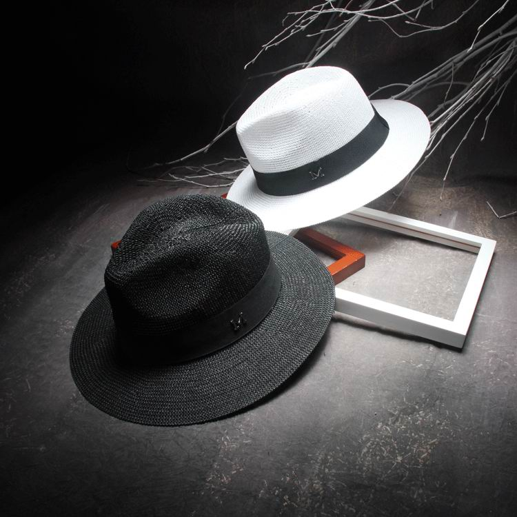 Elegant Black Jazz Hats <font><b>For</b></font> Women New 2016 White Sun Hat Men Formal Blue Summer Beach Cap Luxury Brand Letter M <font><b>Fedora</b></font> Straw Hat