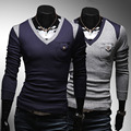 2015 Free shipping Fashion Men's Sweater shirts Casual Slim fit  V-neck pullover patchwork sweeters MEN 2 color M-XXL H7711