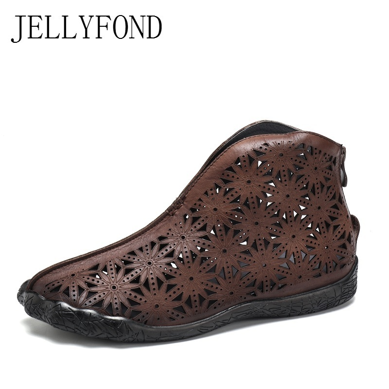 Фотография 2018 Vintage Genuine Leather Women Sandals Handmade Cow Leather Cuts Out Flat Bootie Sandals Designer Summer Shoes Woman