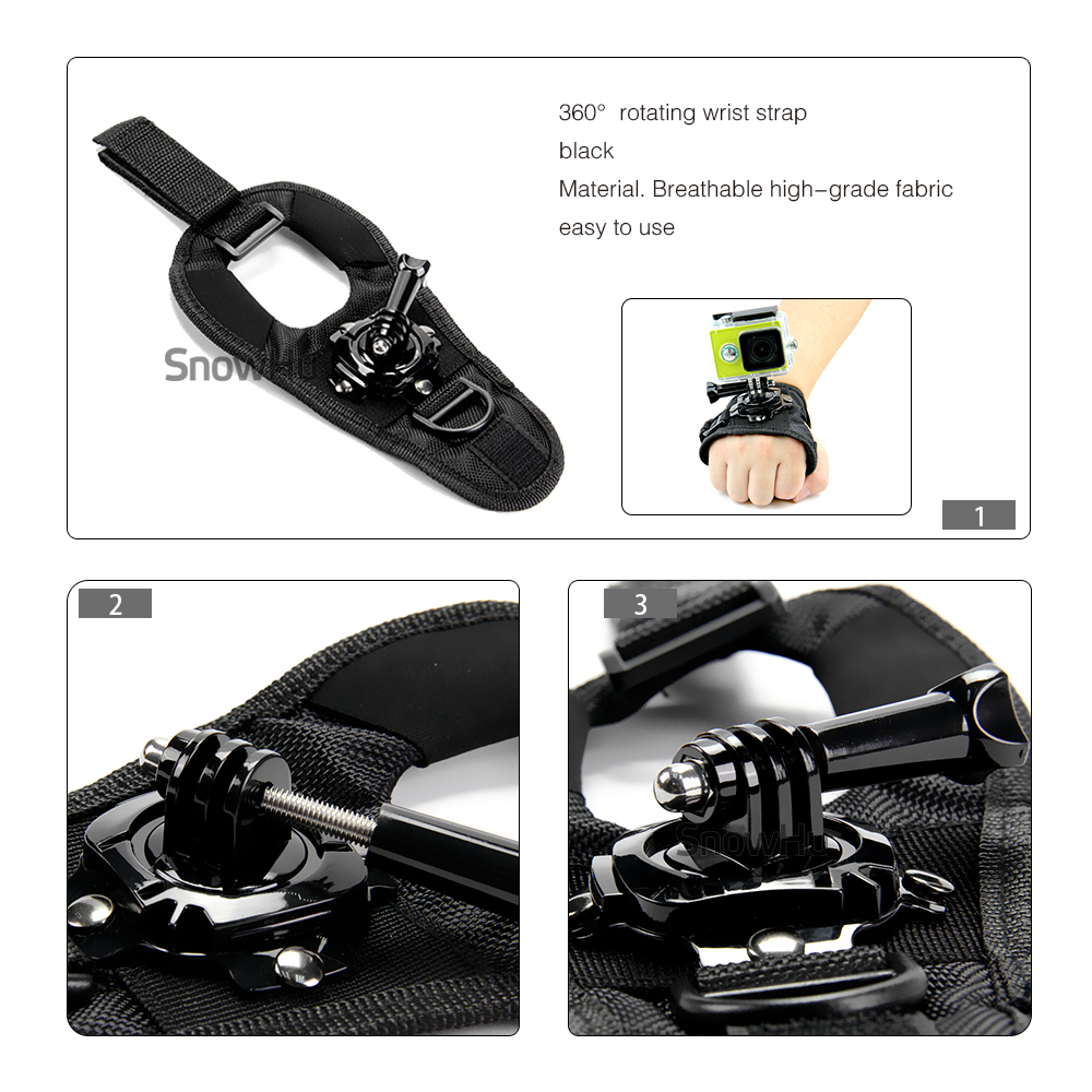 SnowHu For GoPro 360 Degree Rotation Hand Strap Wrist Belt Mount for Gopro Hero 7 6 5 4 3 For XiaoYI For Yi Sjcam Action Camera in Sports Camcorder Cases from Consumer Electronics