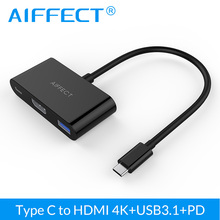 AIFFECT USB 3.1 Type C to HDMI Converter Adapter 3 in 1 USB 3.1 Hub with PD Charging Port 4K For Apple Macbook Chromebook Pixel