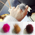 New Arrival Cute Colorful Shaggy Hairball Ring for Young Girls Sable Fur POM POM Women Ring Anillos Bijoux Femme Bague
