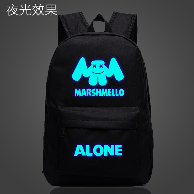 63f681342b Marshmello Alone DJ School Bag noctilucous Luminous backpack student bag  Notebook Daily backpack Glow in the
