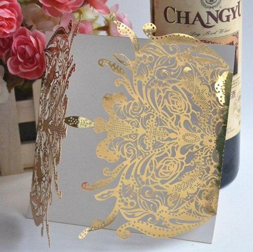 China Fancy Laser Cut Wedding Invitation Card Metallic Gold Indian