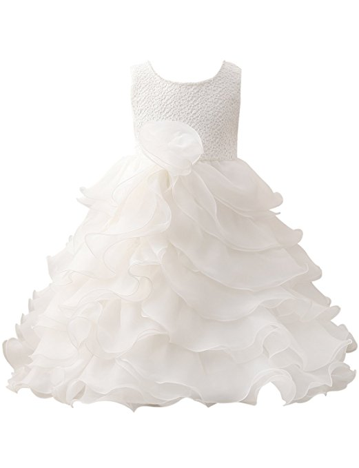 2018   Girls   Scoop Beading Neck Ruffles Long   Dress   for Wedding Pageant White organza   Flower     girl     dress