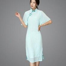 Spring summer women's wear brand new boutique lace cheongsam Asian China Korea Japan Vietnam Traditional thin Chiffon Dress традиционное китайское платье brand new peking cheongsam ccw005