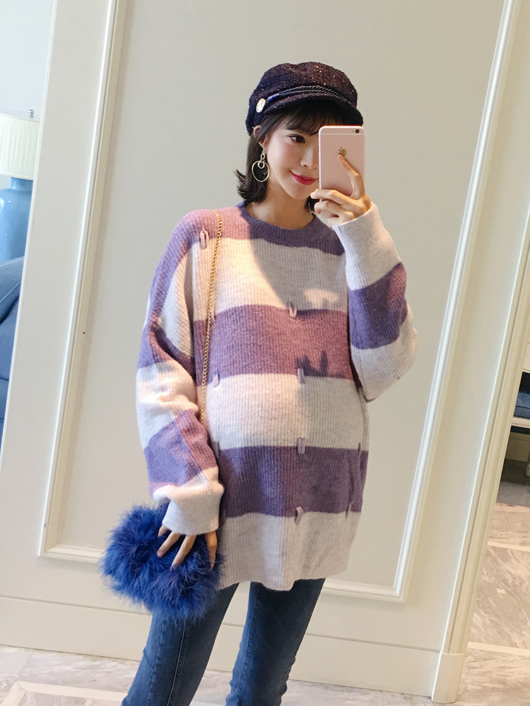 Pregnant women knit top Korean version 2018 new color striped loose large size sweater tide hot mom personality pinko брючный комбинезон