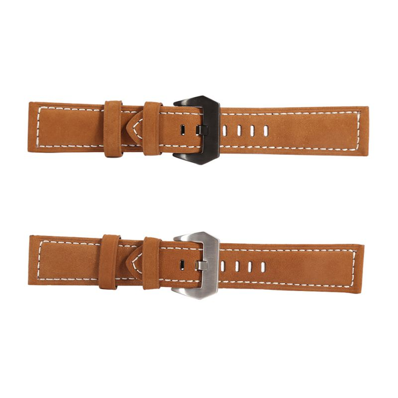 Thick Khaki Yellow Italy Leather Watch Band Strap Black And Silver Buckle 22 24 26mm