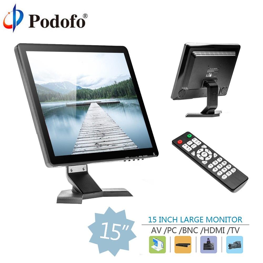 Podofo 15 IPS LCD HD Moniteur Mini TV Écran Caméra Vidéo de Sécurité displa Avec Haut-Parleur/BNC/AV /VGA/HDMI/USB Écouteur À Distance