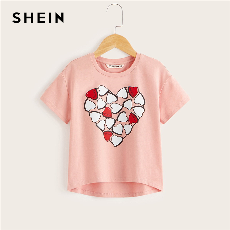 SHEIN Kiddie Toddler Girls Pink Sweetheart Print Asymmetrical Hen Casual Tee Kids Top 2019 Summer Short Sleeve Child T-Shirts