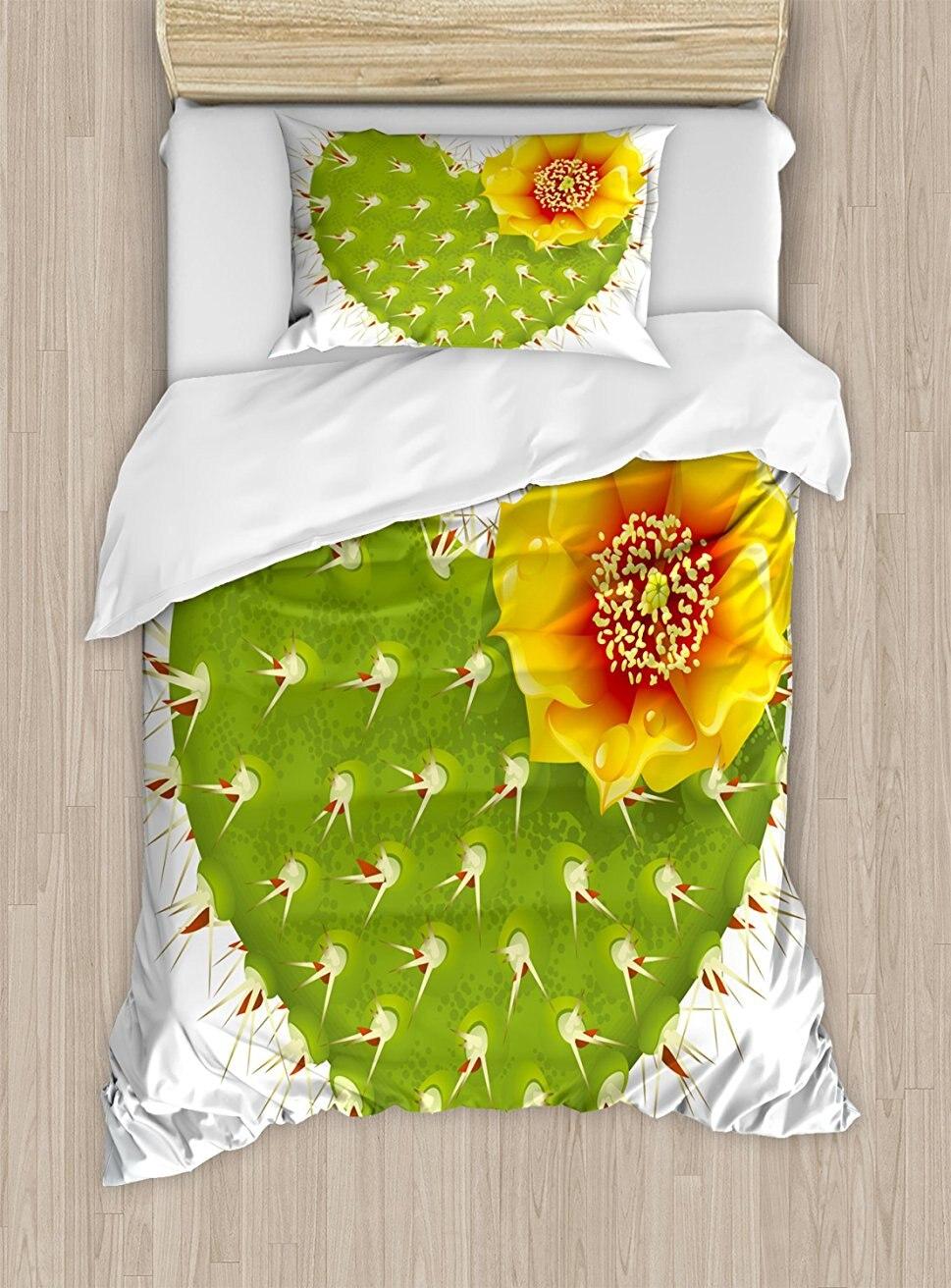 Кактус постельное белье, колючие Кактус в Форма сердца и желтый цветок с опунции шипы, 4 шт. Постельное белье