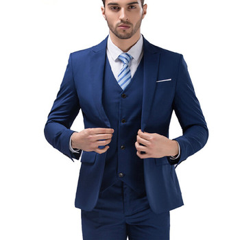 Men's suit three-piece suit (jacket + vest + pants) men's business office formal suit wedding groom groomsmen dress custom