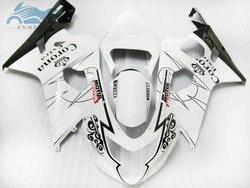Aktualizacji zestawy Fairing dla SUZUKI GSXR 2004 2005 600 R750 owiewki z tworzywa sztucznego ABS zestaw 04 05 GSXR750 GSXR600 K4 K5 biały corona ZT36s
