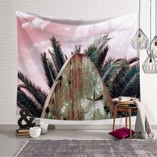 Tropical Palm Tree Macrame Wall Hanging surfboard Sky Print Bohemia Tapestry Landscape Yoga Beach Towel Decor for Home landscape wall hanging tree and elephant print tapestry