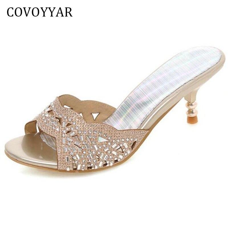 COVOYYAR 2019 New Women Slippers Mules Summer Rhinestone Thin Heel  Slingback Women Sandals Peep Toe Lady 32fadf561873