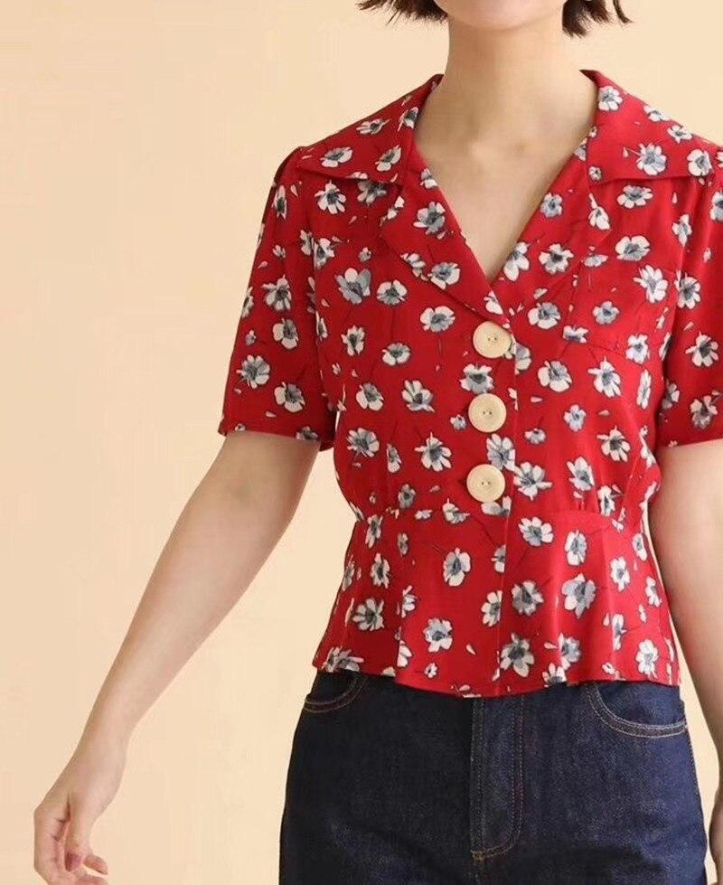 Vrouwen Rode Korte Shirt Levensduur Bloemenprint V hals Grote Knoppen Korte Mouw Zoete Top-in Blouses & Shirts van Dames Kleding op AliExpress - 11.11_Dubbel 11Vrijgezellendag 1
