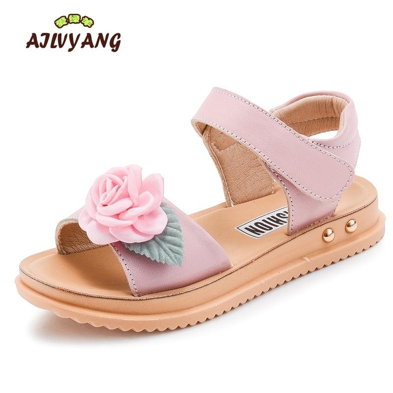 Girls Summer Shoes Children Princess Fashion Flower Sandals Girls Genuine Leather Soft Shoes Little Kids High Quality Sandals