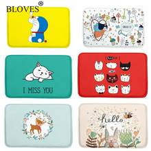 Fresh Cartoon Watercolor Floor Mat For Bathroom Rugs Kids French Velvet Carpet Kitchen Yoga Mat Stair Mats Doormats Alfombras(China)