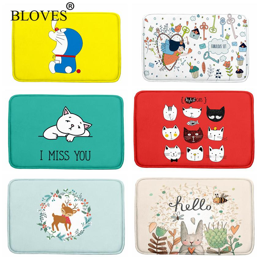 Fresh Cartoon Watercolor Floor Mat For Bathroom Rugs Kids French Velvet Carpet Kitchen Yoga Mat Stair Mats Doormats Alfombras