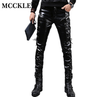New Winter Mens Skinny Biker Leather Pants Fashion Faux Leather Motorcycle Trousers For Male Stage Club