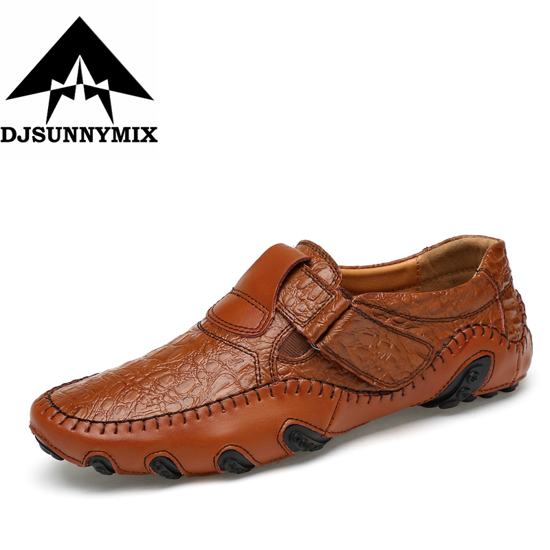 DJSUNNYMIX Brand Fashion British Style Men Causal Shoes Genuine Leather Slip On Men High Quality superstar Shoes plus size 47