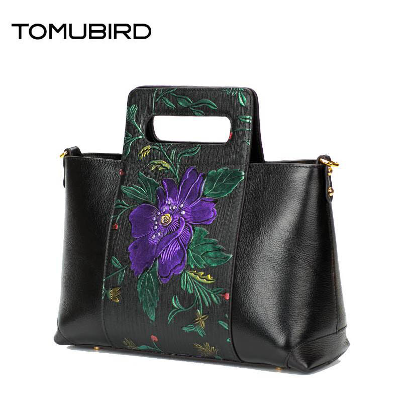 TOMUBIRD 2017 New Superior cowhide leather Painted embossed famous brand Tote women bag fashion genuine leather handbags tomubird new superior cowhide leather designer rose embossed famous brand women bag fashion tote women genuine leather bag
